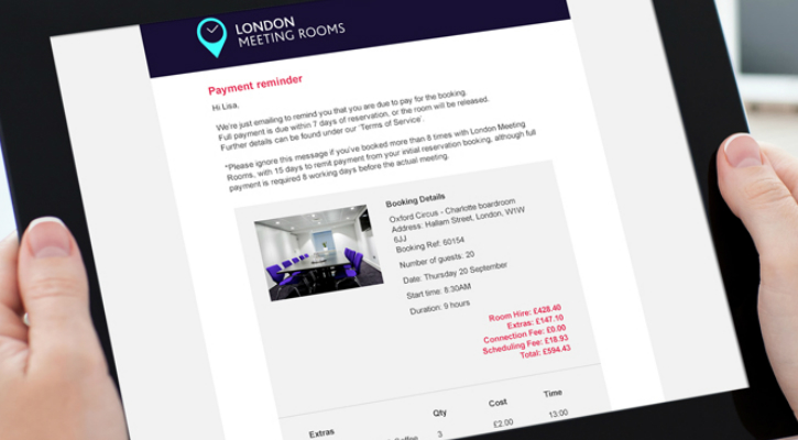 Payment reminder screen of the London Meeting Rooms booking software