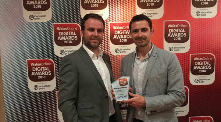 A photograph of thinkBooker and Uprise VSI Managing Director Gareth Rees-Jones accepting the Best e-Commerce Award at the 2018 WalesOnline Digital Awards