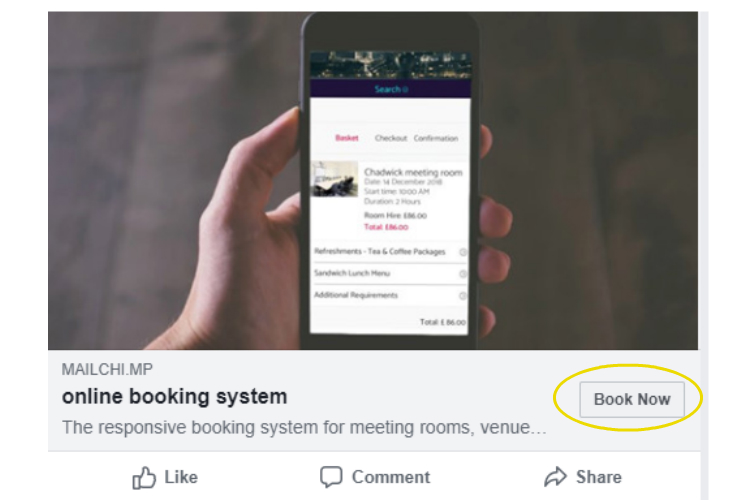book now button on facebook