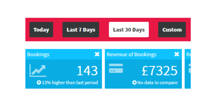 online booking system dashboard