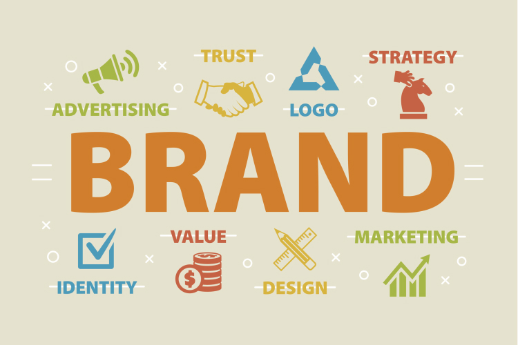 Graphic image of the word 'brand' surrounded by marketing terms and symbols