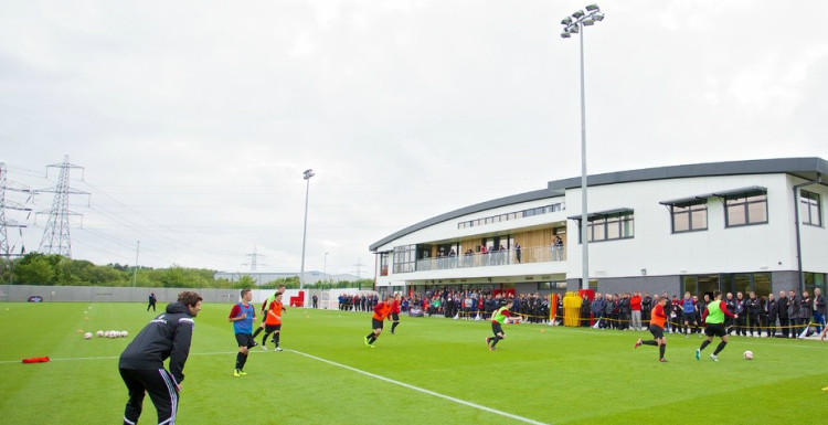 People playing football at the FAW Trust training facility