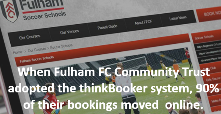 Homepage of the Fullham Soccer Schools booking system
