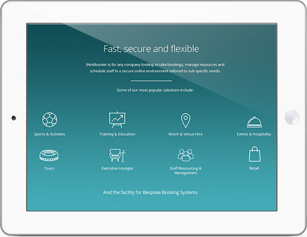 services section of the thinkBooker website homepage as displayed on an iPad