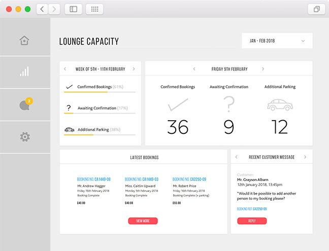 lounge capacity screen of the airport lounge management software