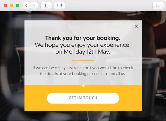 a thank you screen that appears after a customer has made a booking