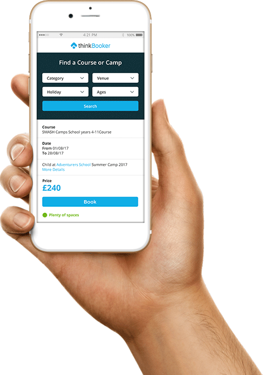 The mobile version of thinkBooker