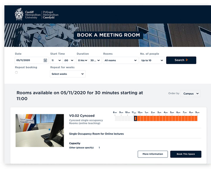 Cardiff Met online booking system