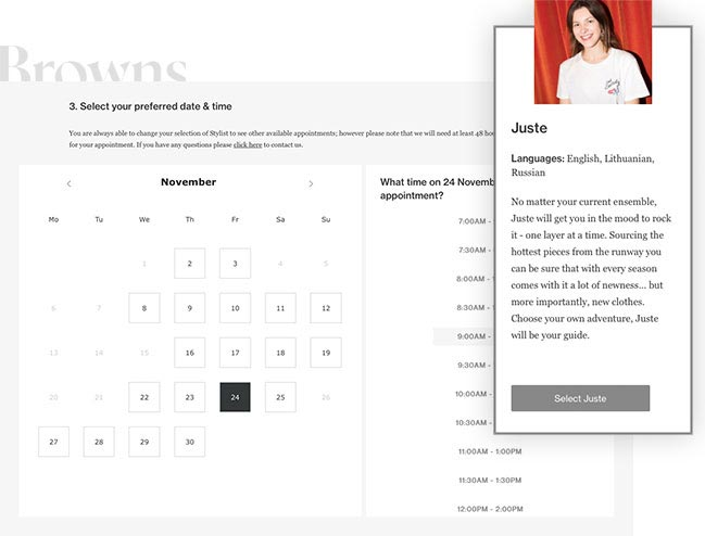 image of the appointment booking software we developed for clothing retailer Browns