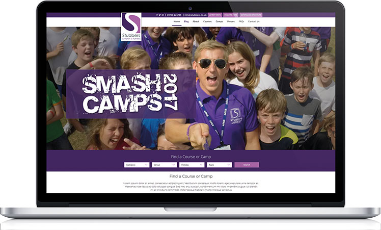 homepage of the Smash Camps website