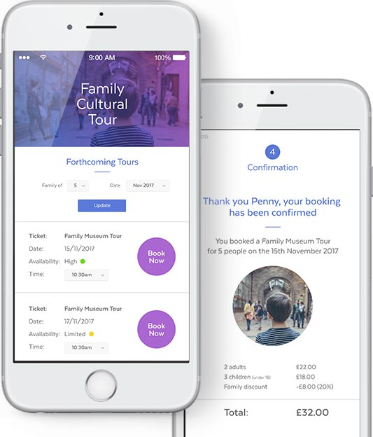 mobile version of the tour booking software customer interface