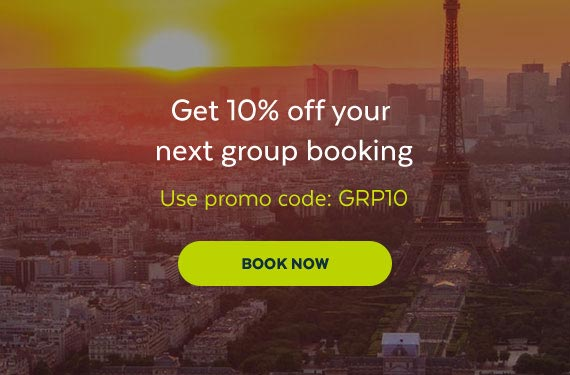 an email offering 10% off a group booking