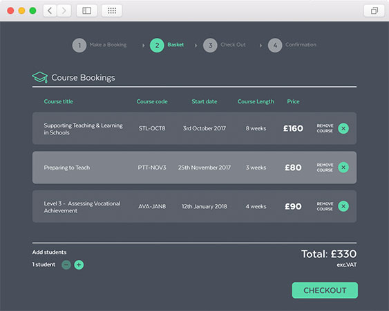 course booking checkout screen