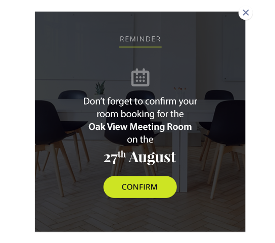 room booking reminder email