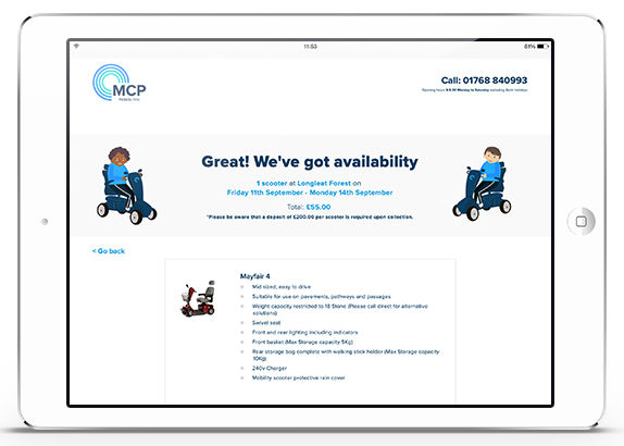 MCP Mobility Hire Bookings